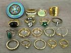 Costume Jewelry Rings Lot Stones Enamel