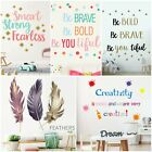Quotes Wall Stickers Family Decal Boho Feathers Colorful Mural Home Decor Vinyl
