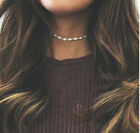 2021 Simple Minimalist Choker Dainty Silver Gold Crystal Chain Pendant Necklace