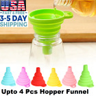 2 Pack Collapsible Silicone Hopper Kitchen Gadget Foldable Liquid Funnel 2 Color