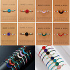 Natural Stone Crystal Braided Rope Bracelet Friendship Couple Card Jewelry Gift
