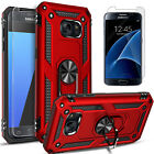 For Samsung Galaxy S7 Case, Ring Kickstand HolderCover+ Tempered Glass Protector