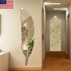 Us 3d Diy Removable Feather Mirror Home Room Decal Vinyl Art Stickers Wall Decor