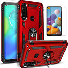 For Motorola Moto G Fast Case, Ring Kickstand Cover + Tempered Glass Protector
