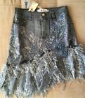 Women Denim Skirt Jeans sequins Stretchy Embroidery Beaded Lace short skirt