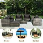 Rattan Garden Furniture Set Corner Sofa Armchairs Coffee Table Ottoman 7 Seater