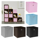 Pack of 2/4/6 Eyelet Foldable Storage Cubes Boxes Home Organization Collapsible