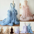 Women Tulle Maternity Robe Ruffled Dresses Bridal Photo Shoot Pregnant Ball Gown