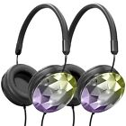 Art & Sound Faceted On-Ear Wired Stereo Headphones, Foldable & Adjustable -2Pack