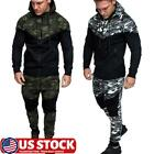 2Pcs Mens Camo Hooded Hoodie Tracksuit Zipper Sport Sweatshirt Tops Gym Suit Set