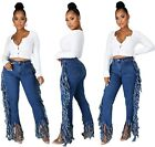 Fashion New Women Side Tassel Ripped Straight Patchwork Casual Long Denim Jeans