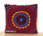 "24"" Square Suzani Cushion Cover 18"" Embroidery Pillowcase 16"" Pillow Cover D7"