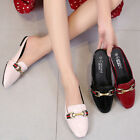 Square Toe Mules Slip On Flats Red Patent Leather Soft Comfy Walking Women Shoes
