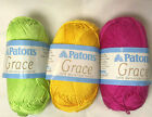 3 Colors Of Patons Grace Yarn - You Choose: 50g/136 Yds Per Skein 100% Cotton
