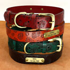 Genuine Leather Dog Collar Personalised ID Name Engraved Adjsutable for Labrador