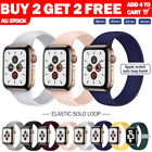 For Apple Watch Band Series Se 6 5 4 3 Silicone Solo Loop Elastic 40 44mm Strap