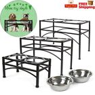 Double Bowl Dog Cat Feeder Elevated Raised Stand Feeding Food Water Pet Dish