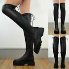 Womens Over The Knee Stretchy Boots Platform Low Heel Tied Designer New Size UK