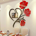Rose Flower Wall Sticker Removable Acrylic Home Decoration Decal Rooms Photo Diy