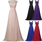 Womens Sleeveless V-Back Chiffon Ball Gown Evening Prom Party Maxi Dress 8 Sizes