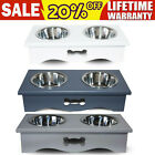 Pet Dog Cat Food Feeding Stand Station Stainless Double Bowls Stand Wooden Large