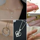 925 Silver Star Heart Cubic Zirconia Clavicle Chain Pendant Women Necklace Gift