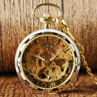 Transparent Men Skeleton Mechanical Pocket WatchGold Vintage Chain Hand-winding