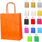 20 Small Paper Party Bags Gift Sweet Bags Twist Handles Orange 180x220x80mm