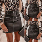 Womens Buckle Zipper PU Leather Bodycon Skirt Punk Gothic Party Short Skirts US