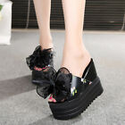 Women Mules Platform Wedge High Heel Shoes Slippers Bows Floral Open Toe Sandals