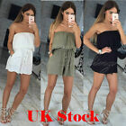 Womens Holiday Off Shoulder Jumpsuit Mini Playsuit Summer Beach Dress Size 6-18