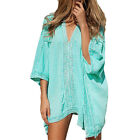 Women Swimwear Loose Bikini Cover Up Top Summer Beach Swimsuit Kaftan Mini Dress