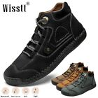 Men's Hand Stitching Leather Loafers Business Casual Hiking Dress Ankle Boots