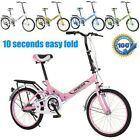 20in 7 Speed ​​City Folding Mini Compact Bike Bicycle Girl Women Urban Commuters
