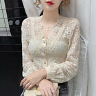 Womens Long Puff Sleeve Slim Tops Lace Blouse Crop Hollow Out Shirts V Neck