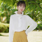 Womens Front Ruffle Collar Bell Shirt Long Sleeves Tops Fashion Simple Blouse
