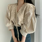 Womens Fairy Blouse Floral Lace Lapel V Neck Puff Sleeves Tops Casual Shirts
