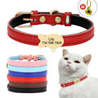 Soft Leather Small Dog Cat Collar Custom Personalized Fish Tag Engraved  Bell