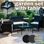 Rattan Garden Furniture Set Chairs Sofa Outdoor Dining Table Bench Patio 4 Piece