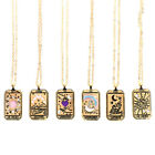 Square Amulet Pendant Tarot Cards Vintage Necklace Women's Jewelry Gift X#