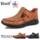 Men's Leather Fisherman Beach Shoes Adjustable Closed Toe Handmade Water Sandals