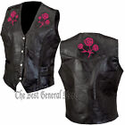 Black Leather Ladies Women Rose Vest Biker Motorcycle