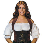 VELVET BROWN BLACK CORSET ADULT MEDIEVAL & GOTHIC FANCY DRESS COSTUME ACCESSORY