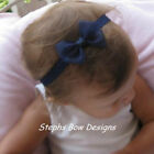 NAVY BLUE SHEER DAINTY HAIR BOW HEADBAND BABY TODDLER Fall Winter Spring SO Cute