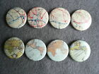 4 x Badge Badges Street Map Vintage Atlas World 1""