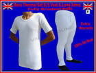 Mens Thermal Brushed SET WHITE Vest & Long Johns WARM