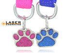 Glitter Paw Print Pet ID Tags Custom Engraved Dog Cat Tag Personalized