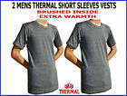 2 pieces MENS ORIGINAL THERMAL UNDERWEAR SHORT SLEEVES BRUSHED VESTS WARM