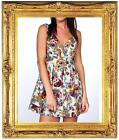 LADIES VTG BAROQUE FLORAL GOING OUT DRESS FLOWER MINI TUNIC SHIFT SKATER CASUAL