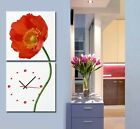 Big Red Poppy Flower Modern Decor Canvas Prints Set Of 2 FRAMED &  READY TO HANG